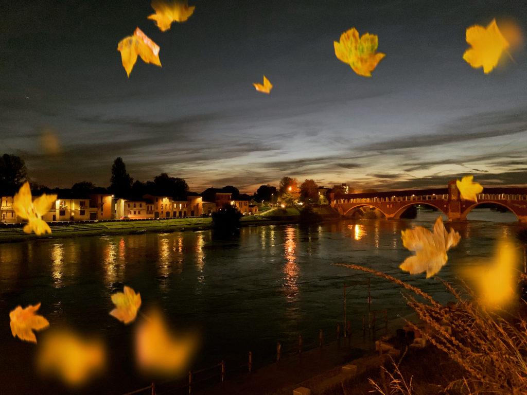 Foto del ponte vecchio di Pavia  - Autunno sul lungo Ticino