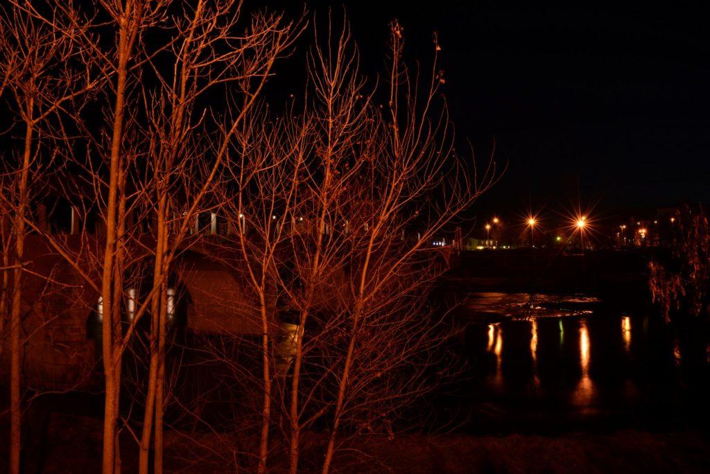 Foto notturna a pavia accanto al Ponte Vecchio